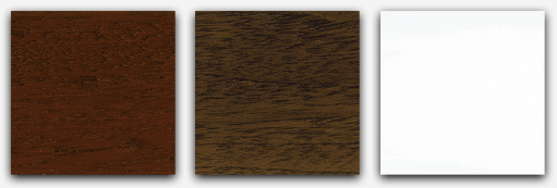 Sample of the finishes in mahogany, walnut and white