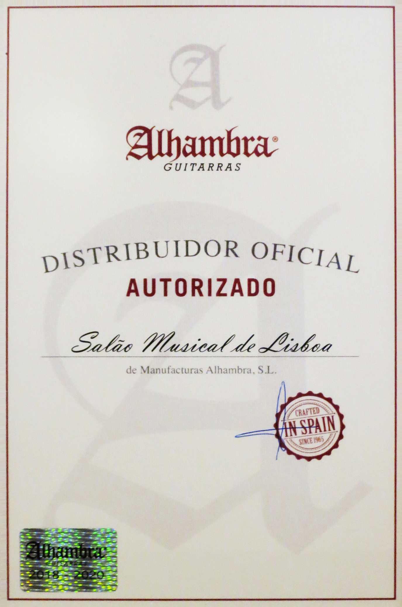 Alhambra authorized official distributor certificate