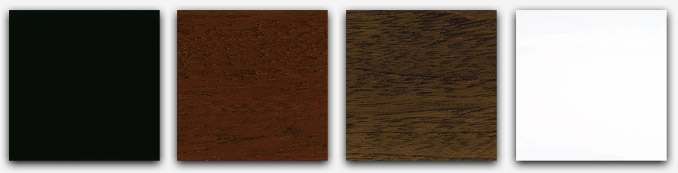 Sample of the color of the finish in black, white, mahogany or walnut