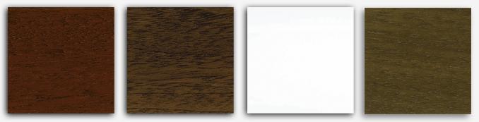 Sample of the piano finishes in mahogany, walnut, white and satin walnut