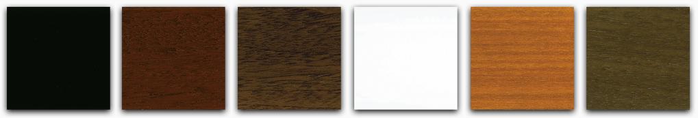Sample of the piano finish in black, mahogany, walnut, white, satin cherry and satin walnut