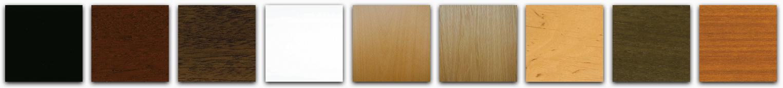 Sample of the color of the finish in black, white, mahogany, walnut, cherry, mahogany satin, walnut satin, alder satin, oak satin and beech satin